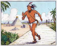 Pic 6: The use of runner couriers is known to have been common among the Maya as well as the Aztecs; illustration by Steve Radzi