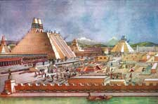 Pic 8: Architect Ignacio Marquina's 1951 reconstruction of Tenochtitlan city centre, showing the Templo Mayor, left
