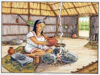 Pic 2: A Maya woman prepares to heat a drink over a fire guarded by three hearthstones; notice the grinding stone beside her