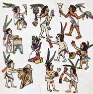 Pic 3: Festival musicians and dancers, Codex Magliabecchiano p. 82 (detail)