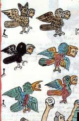 Pic 5: Bird costumed dancers, festival of Atamalqualiztli; Codex Matritense, fol. 254r (detail)
