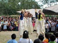 Stilt dancers, Maya Day, Belize, 2012