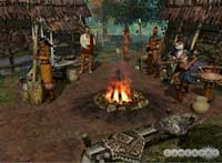 Pic 5: Native American characters can increase attributes by dancing around a fire pit. (Artwork created to promote the game)