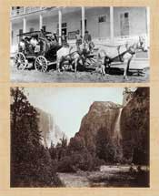 Pic 2: Top: 'Heading for Yosemite on a Horse-Drawn Tour', c. 1886; bottom: View of Tutocanula Pass, Yosemite - photo by Carleton E. Watkins, c. 1878-1881