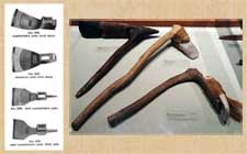 Pic 3: (Left) Part of a catalogue of 19th century woodworking tools (all adzes) from 1896; (right) examples of Pacific Island adzes, Peabody Museum, Harvard Museum