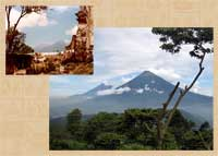 Pic 6: Two views of two volcanoes: Volcán de Fuego and Acatenango (L); Volcán de Fuego and Volcán de Agua (R)