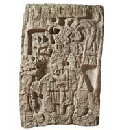 Pic 8: Plaster cast of an architectural fragment from Yaxchilan (Stela 5): this is one of many plaster casts of Maya carvings made by Italian expert Lorenzo Giuntini who was hired by Maudslay