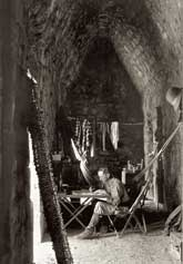 Pic 9: Alfred Maudslay at work inside the southern chamber, Casa de Monjas at Chichen Itza, 1889