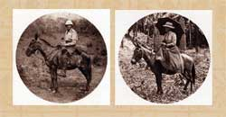 Pic 11: Alfred Maudslay on horseback and Annie Morris on muleback, Guatemala