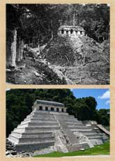 Pic 17: The Temple of the Inscriptions, Palenque - (top) when explored by Alfred Maudslay and (bottom) today