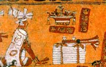 Pic 16: Detail showing stacks of cloth - part of a tribute scene from a Maya ceramic vase (K8526)