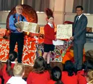 *Lucy from 5EG, St. Stephen's CE Primary School in Twickenham receives a beautiful hand drawn codex page for her school from the Mexican Consul, Sr. Aníbal Gómez Toledo, March 2016