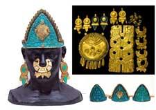 The pectoral and smaller mosaic headdress worn by Ramon Tikaram (actor playing Moctezuma)