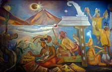 Pic 2: Part of a mural by Rina Lazo showing the ancient Maya arts of writing, astronomy (using cross-sticks to observe the night sky) and music & dance; National Museum of Anthropology, Mexico City