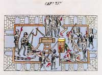 Pic 3: Massacre of Mexica musicians by the Spanish at Tenochtitlan, May 1520; Codex Duran fol. 29a