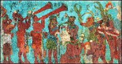 Pic 5: Trumpet players process with other Maya musicians; Bonampak Temple mural, Room 1