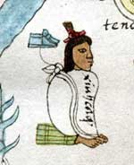 Pic 3: Xiuhcaque, one of the founders of Tenochtitlan; Codex Mendoza, fol. 2r (detail)