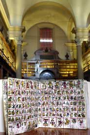 Pic 2: The original Codex Cospi in the main room of the ancient Biblioteca Universitaria di Bologna, where it has been held since 1803
