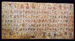 Pic 4: One of the double-page sequences in the Codex Cospi (facsimile), showing a 'trecena' calendrical sequence