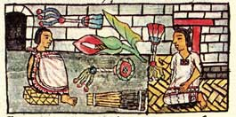 Pic 3: Flowers as banquet gifts (notice the sunflower in the centre), Florentine Codex Book 9