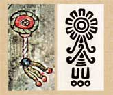 Pic 5: Sunflower (Florentine Codex Book 9) with pre-Hispanic stamp with flower design from Texcoco