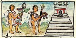 Pic 6: Offerings of sunflowers and other flowers and tobacco tubes to Huitzilopochtli; Florentine Codex Book 9