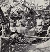 Pic 4: Le Plongeon excavating the 'chac mool' figure, Chichen Itza, 1875