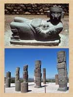 Pic 6: Tula - chac mool sculpture (top) and Atlantean columns (bottom)