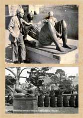 Pic 15: Henry Moore and Joseph Hirshhorn with Moore's 'Draped Reclining Figure', Washington, April 1976 (top); HM reclining figure, Dartington Hall Gardens, 1964 (bottom)