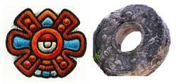 Pic 4: The Mexica calendar sign Movement ('Ollin') alongside stone ballcourt ring, Chichen Itza