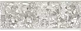 Pic 5: Detail from panel at Chichen Itza ballcourt depicting the decapitation of a ballgame player; drawing by Miguel Angel Fernández