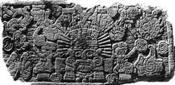 Pic 6: Underside of Aztec chac mool excavated in 1943 in Mexico City centre; two large knife blades are clearly visible, left