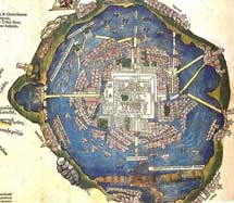 Pic 3: This is a map of Tenochtitlan according to Hernan Cortés, the leader of the conquistadors. Nuremberg Map, 1524