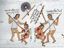Pic 9: A rural lord has sent two warriors to kill visiting Aztec merchants. You A can see their travelling frame and the fan and staff are diplomatic belongings of a messenger. Codex Mendoza