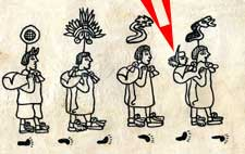 Pic 10: Four Aztec priests transport their god Huitzilopochtli (Left-Hand Humming Bird). He is in the bundle on the far right with his beak sticking out! Codex Boturini