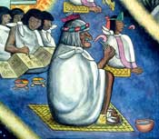 Pic 4: An Aztec elder tells a story from an Aztec book