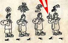 Pic 7: Four Aztec priests transport their god Huitzilopochtli (Left-Hand Humming Bird). He is in the bundle on the far right with his beak sticking out!