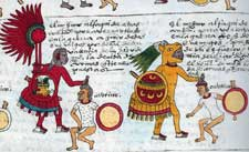 Pic 6: These captives from Huextontzinco have curved lip plugs. Aztec warriors are grabbing them by their hair. Codex Mendoza
