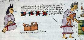 Pic 9: An Aztec midwife (right) wears a blue ear spool. The mother sits to the left, wearing a white ear spool. Codex Mendoza