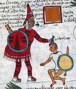 Pic 10: A Huaxtec warrior wears unspun cotton ear ornaments. Codex Mendoza