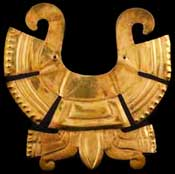 Pic 12: An Aztec gold nose ornament in Mexico's main anthropology museum