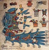"Pic 14: The goddess Chalhiuhtlicue, or ""Jade-Her-Skirt"". Her skirt is green, and the river beneath her blue, as these are the colours of precious jade stones called 'chalchihuitl'. Codex Borbonicus"