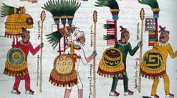 Pic 16: Aztec warriors wearing shell necklaces. Codex Mendoza