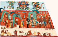 Pic 10: Bonampak Structure 1, Room 1, quetzal dancers getting dressed on the north wall. Reconstruction painting by Heather Hurst and Leonard Ashby