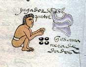 Pic 5: A patolli player gambles his clothing; Codex Mendoza, folio 70r (detail)