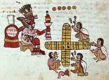 Pic 7: An Aztec game of patolli being overseen by the deity Macuilxochitl. Codex Magliabecchiano, p. 48