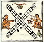 Pic 12: The game of patolli, Florentine Codex Book 8, showing the game board, four bean dice, and several precious objects (copper bells, a jade bead and quetzal feathers) that are being wagered