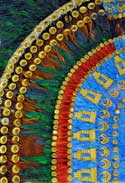 Pic 3: Detail of the fine replica of 'Moctezuma's headdress' (original in Vienna, replica in the National Museum of Anthropology, Mexico City)