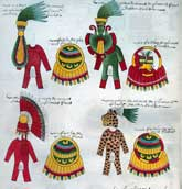 Pic 4: Detail from the Codex Mendoza (folio 23v) showing tributes of 'fine rich feathers' - part of warrior costumes supplied to the Aztecs from the provinces of their empire