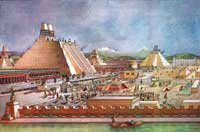 Pic 5: Reconstruction of the painted buildings of the ceremonial center in Tenochtitlan, with the Templo Mayor in the center, by Ignacio Marquina